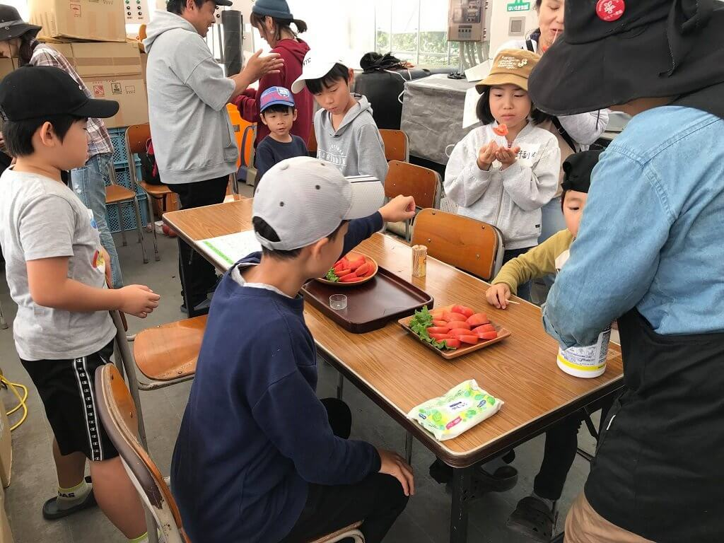 収穫したトマトを早速試食